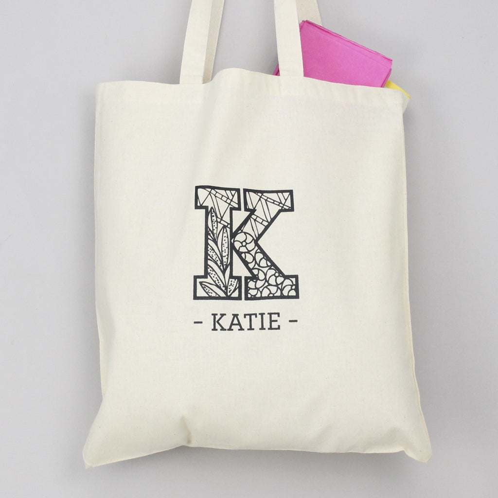 Personalised Zentangle Initial Tote Bag