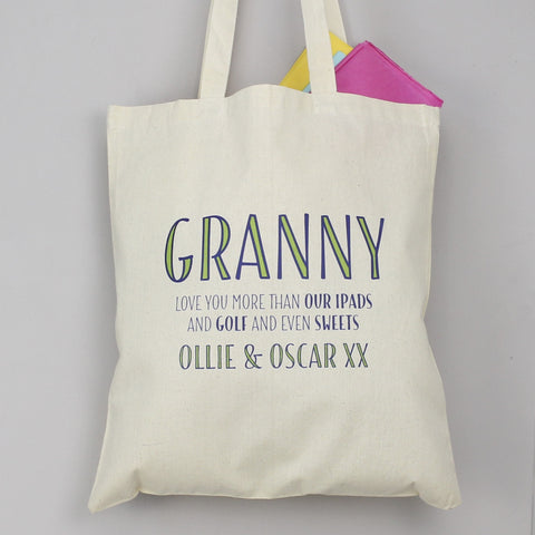 Personalised 'Love You More Than…' Tote Bag