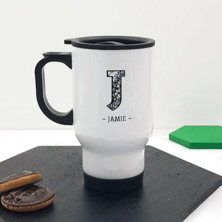 Zentangle Initial Travel Mug