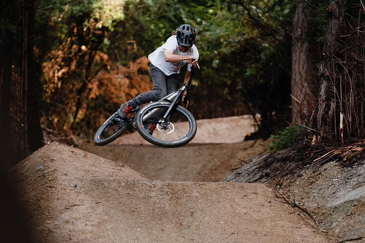 And riding his Edit in Queenstown Bike Park