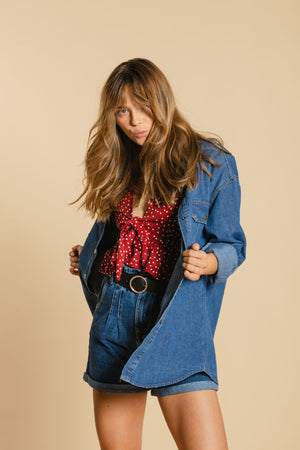 Denim Long Shirt - Dark