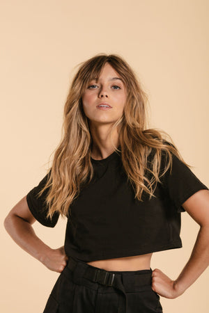 T-shirt crop top - Noir