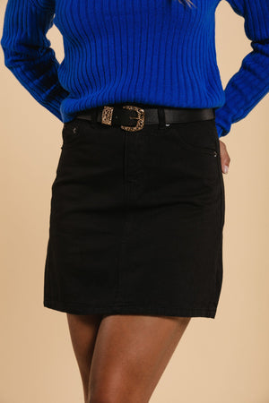 Short denim skirt - Black