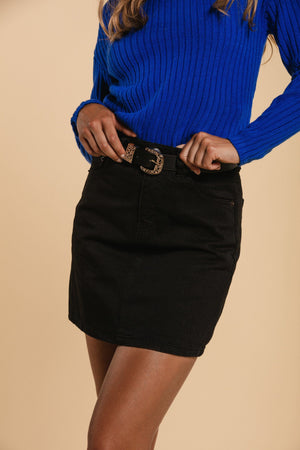 Short denim skirt - Black WOMANCE
