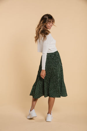 Green polka skirt