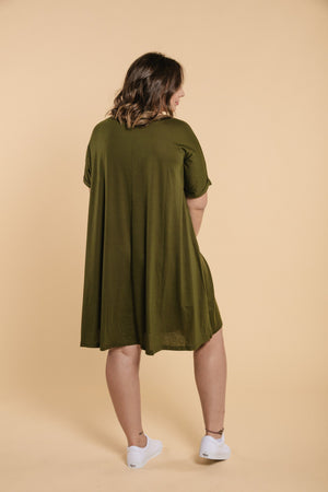 T-Shirt Dress - Khaki WOMANCE CURVES