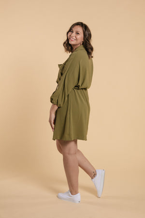 Shirt Collar Dress - Green
