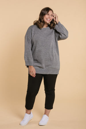 Round Neck Sweater - Gray