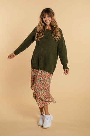 Long knit sweater - Green