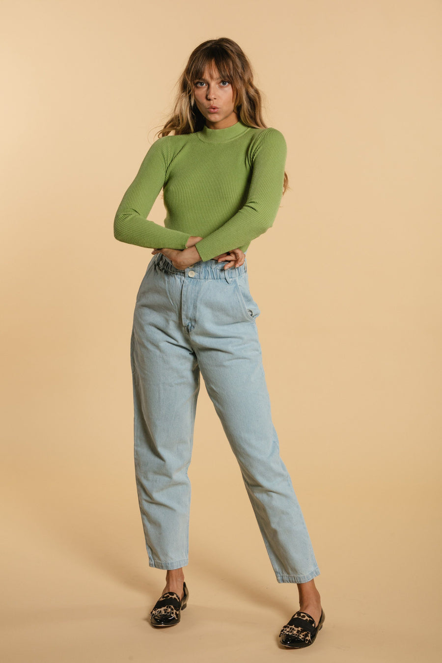 High Neck Sweater - Light Green