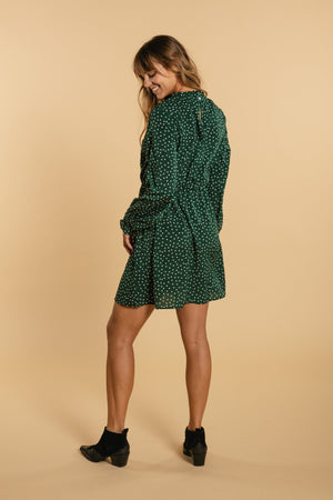 Long Sleeve Polka Dot Dress - Green