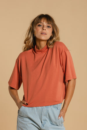 Short sweater - Terracotta