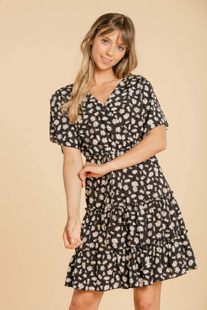 Floral wrap dress - Black WOMANCE