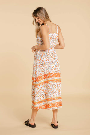 WOMANCE orange midi dress