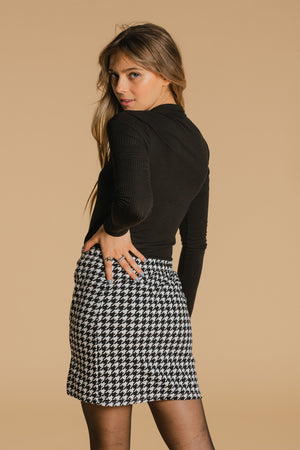 Houndstooth skirt - White and black