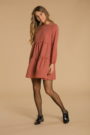 Houndstooth dress - Red