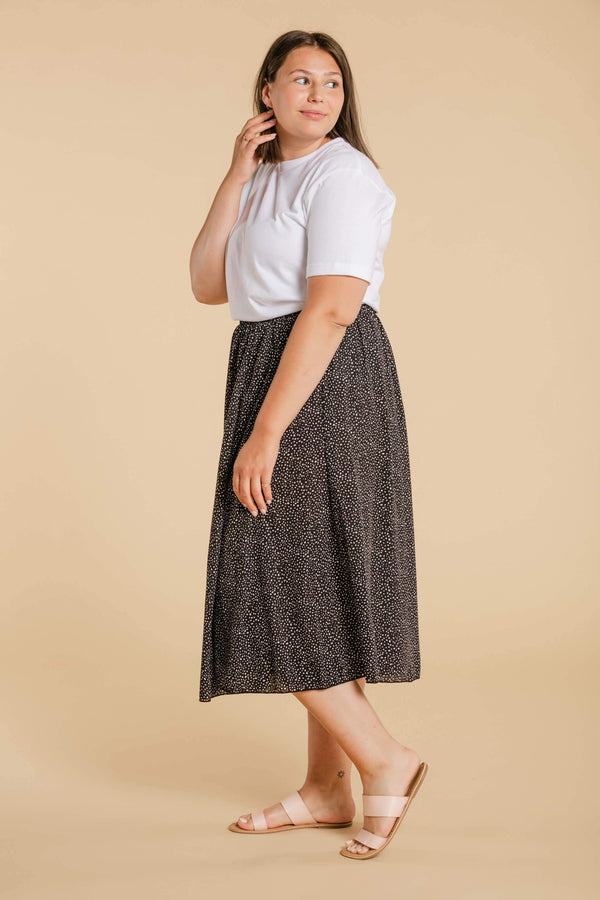 Long skirt with small polka dots WOMANCE CURVES