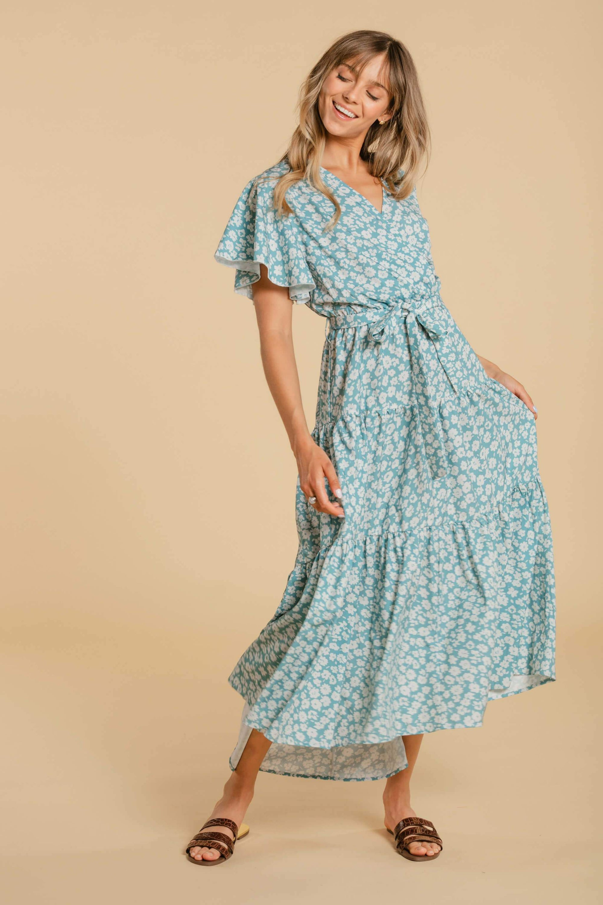 Robe longue fleurie avec ganse Robe WOMANCE - Distribution S Turquoise