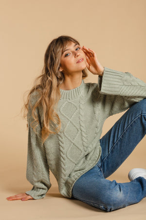 Cable knit sweater - Mint