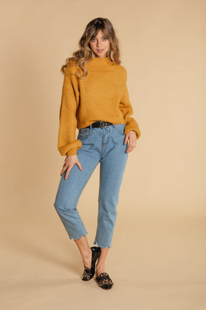 Short sweater with balloon sleeves - Yellow