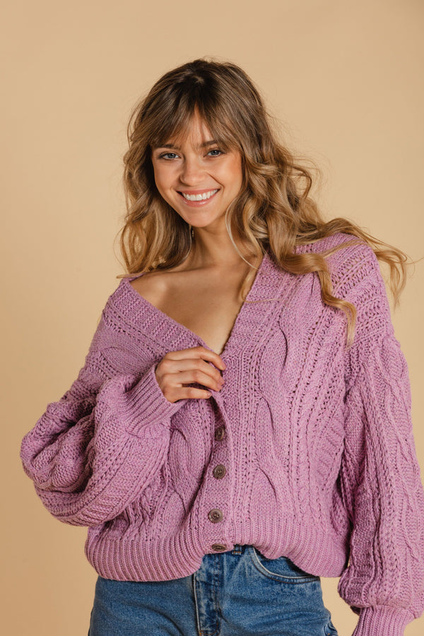 Short braided cardigan - Purple