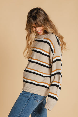 Striped sweater - Beige
