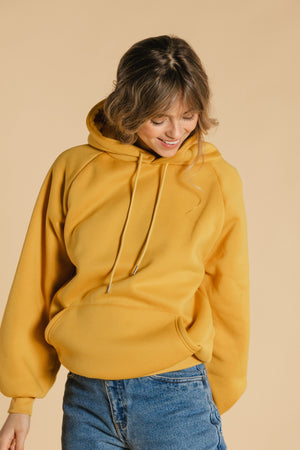 Plain hooded sweater - Yellow