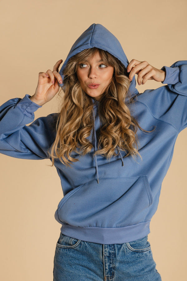 Plain hooded sweater - Blue