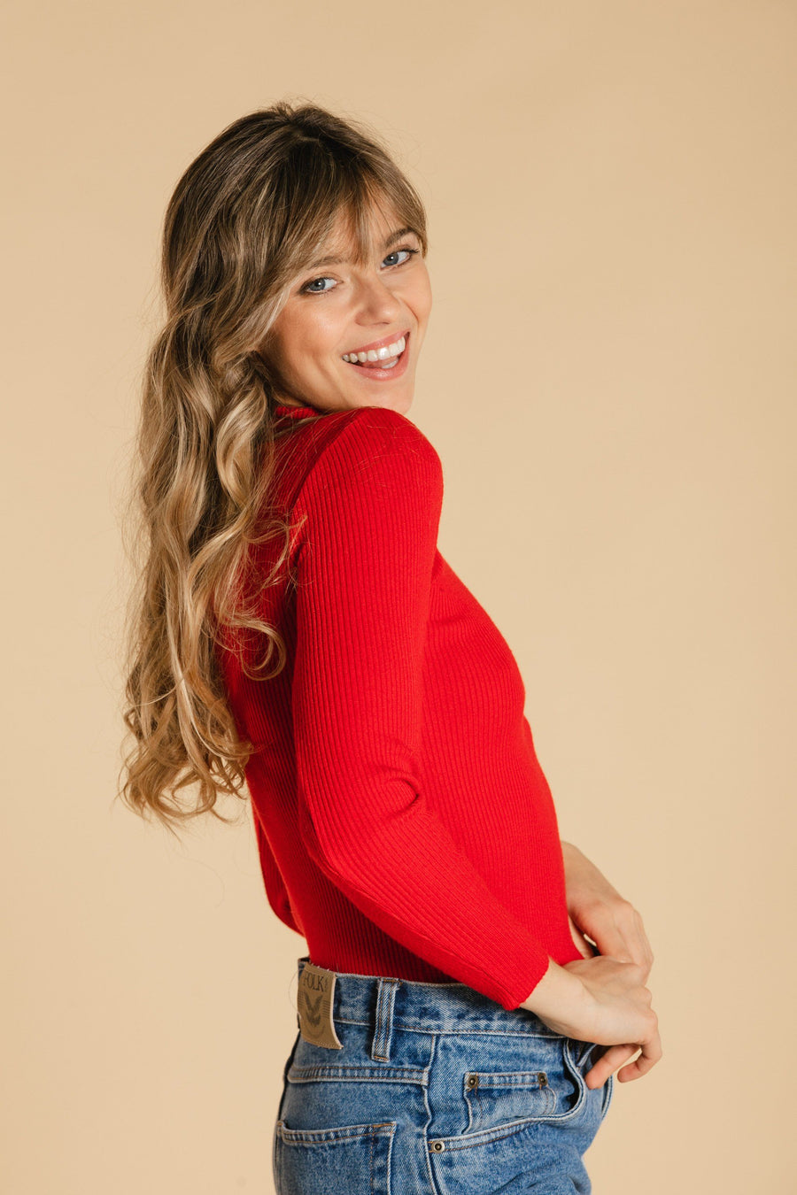 High neck sweater - Red