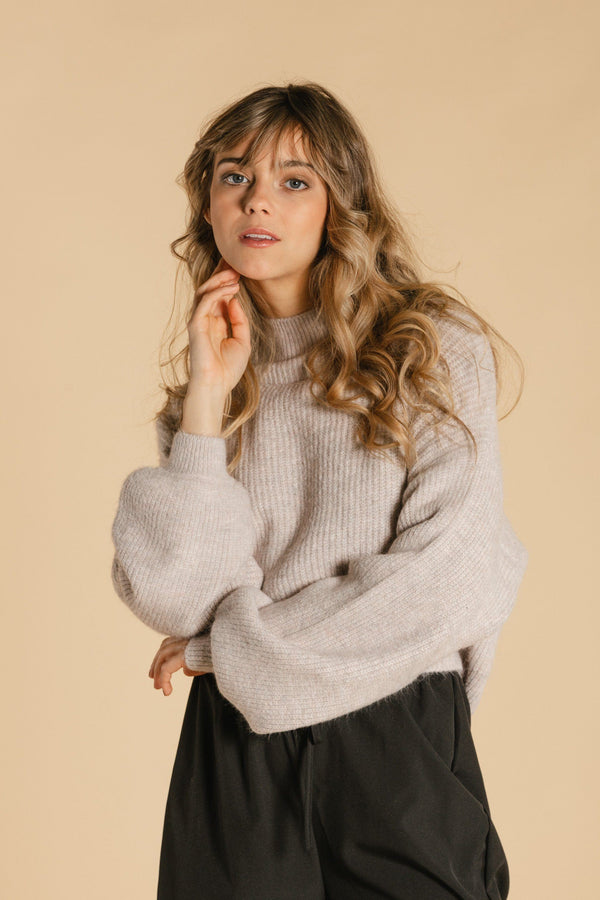 Short sweater with balloon sleeves - Light ash