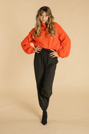 Balloon sleeve sweater - Red / orange