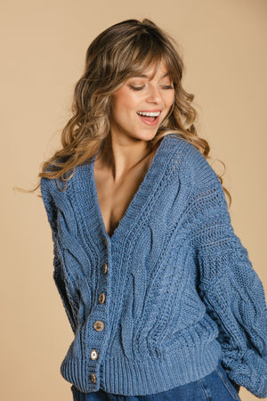 Short braided cardigan - Blue