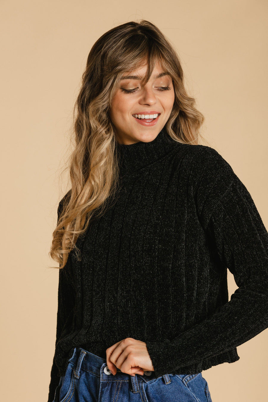 Short chenille sweater - Black