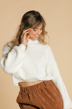 Balloon sleeve sweater - White