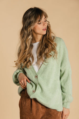 Cardigan with buttons - Mint