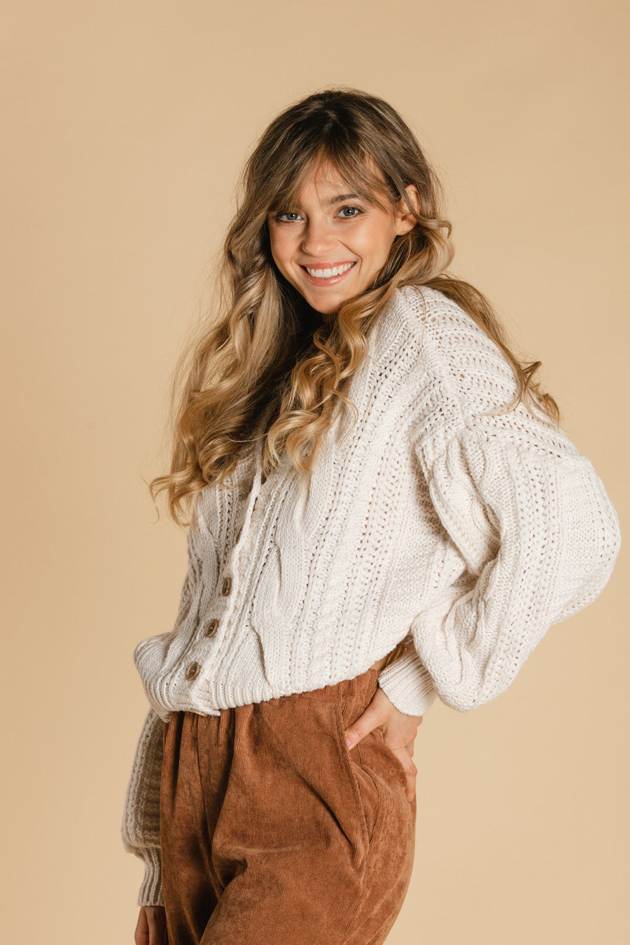 Short braided cardigan - Cream