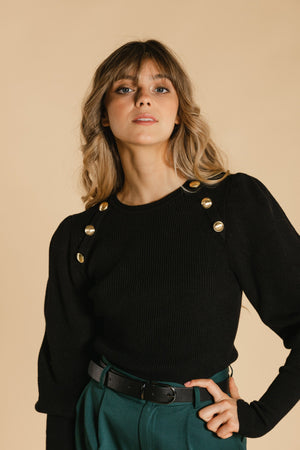 Gold button sweater - Black
