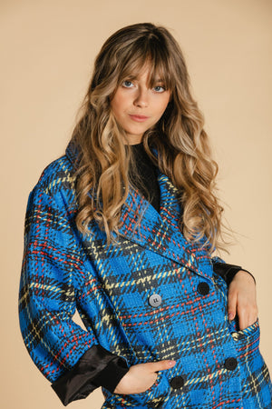Checked coat - Blue and yellow