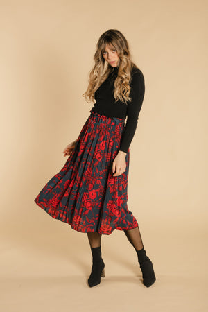Floral skirt - Burgundy and navy