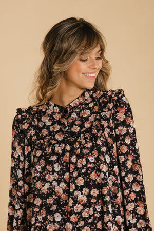 Floral dress - Black and pink