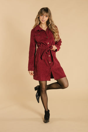 Corduroy dress - Burgundy