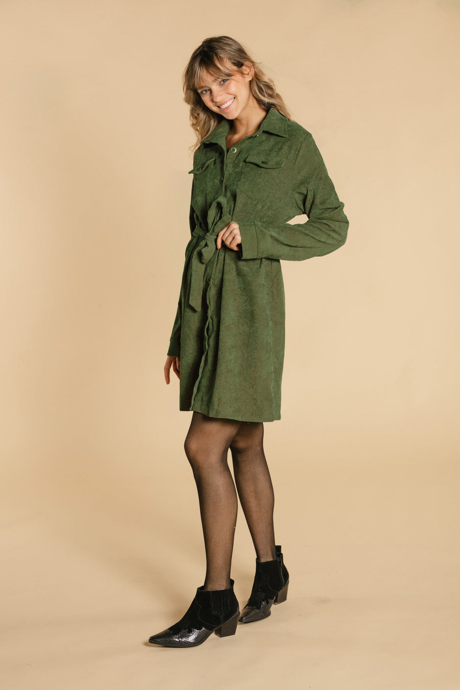 Corduroy dress - Khaki WOMANCE