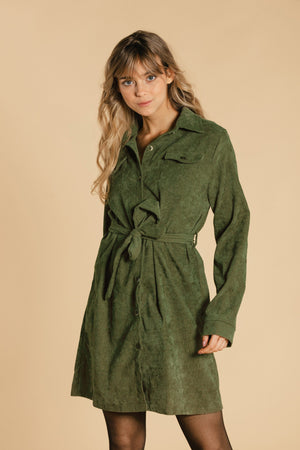 Corduroy dress - Khaki