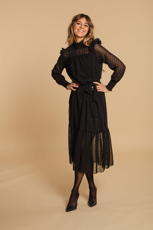 Long dress with belt - Black