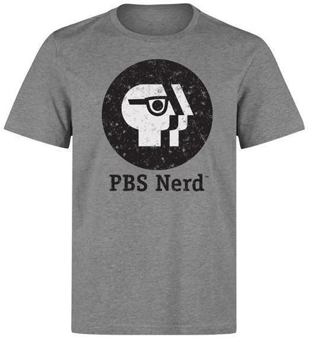Men's Gray PBS Nerd Short Sleeve T-Shirt