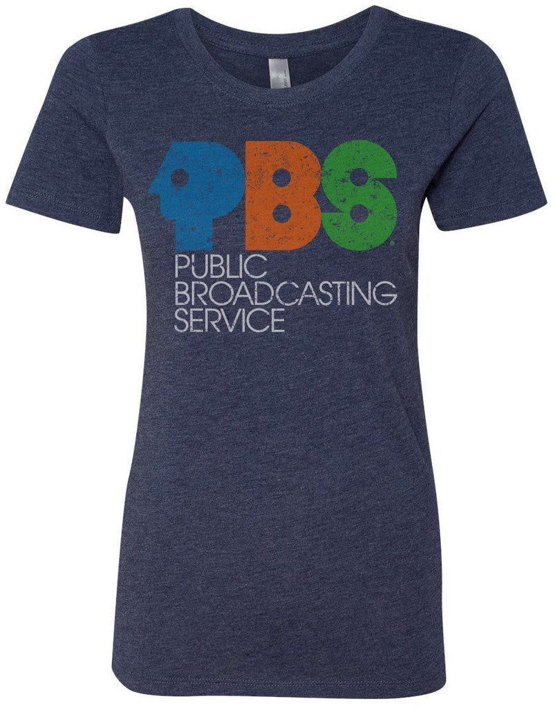 Ladies' Navy Blue Vintage PBS Short Sleeve T-Shirt