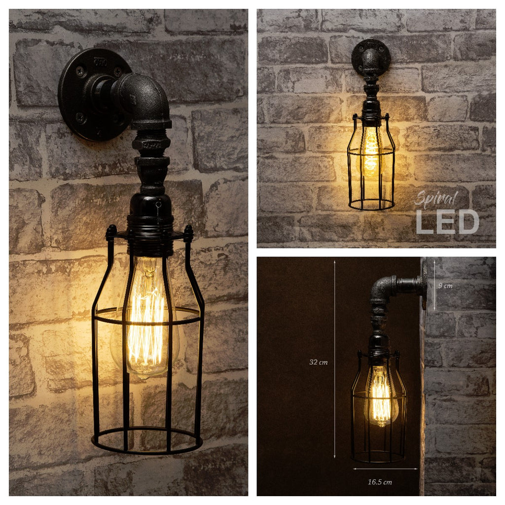 industrial pipe lighting. Black Industrial Downlight Iron Pipe Wall Light With Cage Lighting {