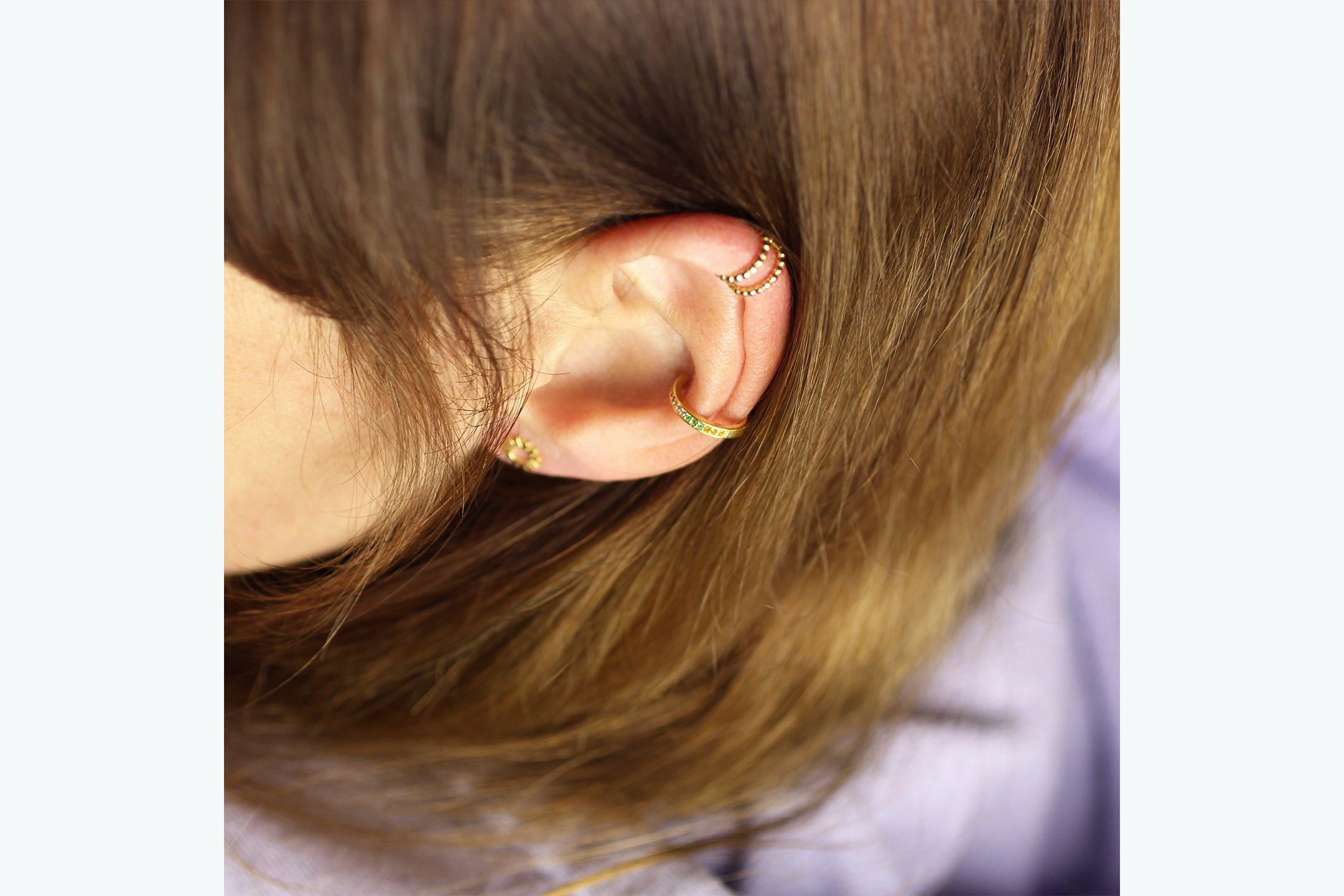 "Earcuff ""Medium Pearls"" gold"