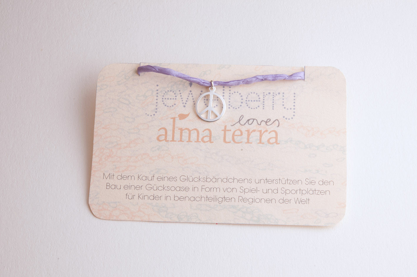 ....Charity Armband Jewelberry for Almaterra PEACE versilbert..Charity Bracelet Jewelberry for Almaterra PEACE silver plated....