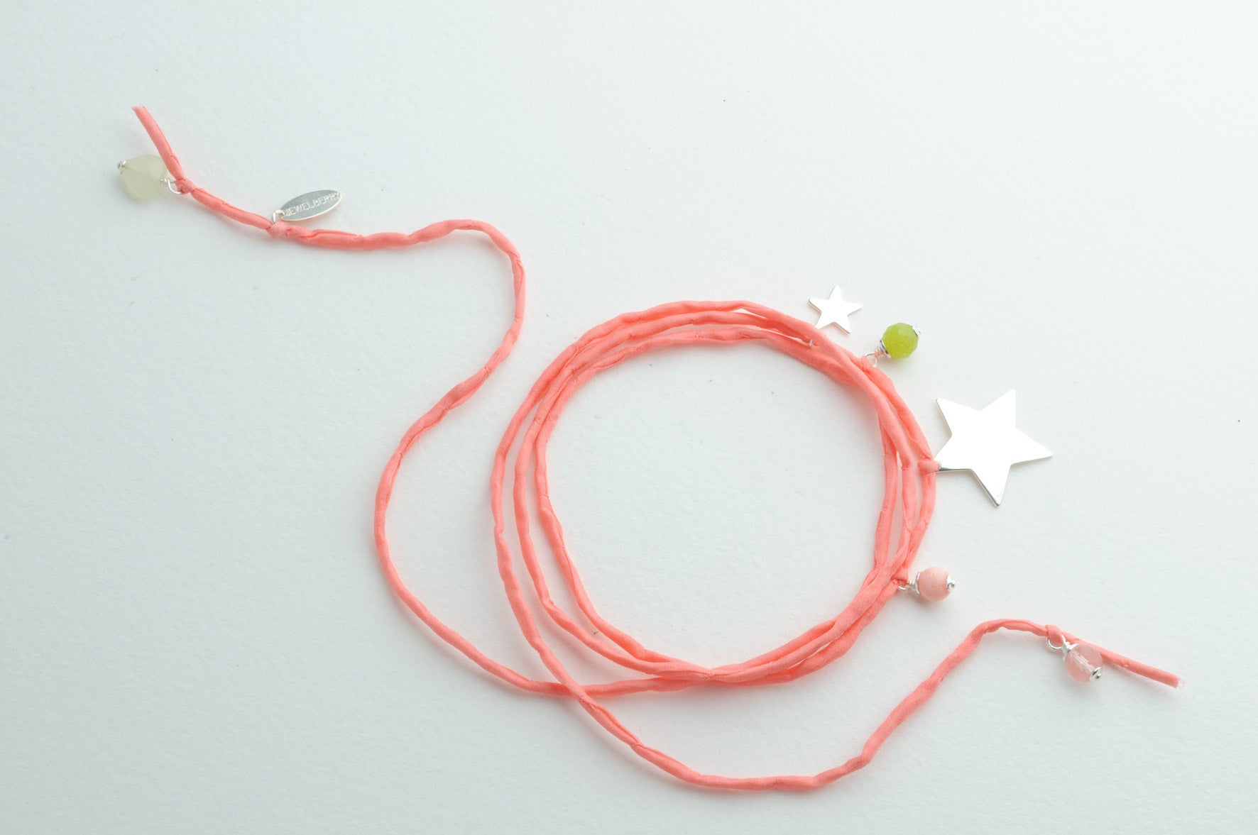Armband Large Silk STARS SILVER coral